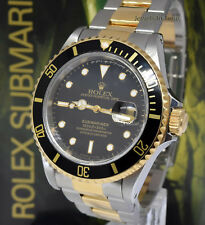 Rolex Submariner Date 18k Yellow Gold/Steel Black Mens Watch Box/Papers X 16613
