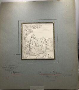 Johann Samuel Lymann - Adoration, dessin à l'encre du XVIIIe Scène d'adoration.