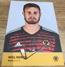 Wolves FC HAND SIGNED Will Norris Card Wolverhampton Wanderers Football