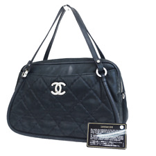 Authentic CHANEL CC Logos Quilted Hand Bag Leather Black Silver Italy 27ER443