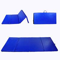 "4'x10'x2"" Folding 4 Panel Gym Mat Gymnastics Tumbling Yoga Sports Floor Blue"