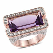 Rose Gold Silver Cocktail Ring Amethyst Zircon Gift Jewelry for Women Size 7