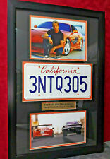 Fast and Furious PAUL WALKER License Plate Movie Prop Custom Display un signed