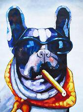 "CANVAS DOG CIGAR sun glasses PRINT PAINTING BIG MAFIA  80cm 32"""
