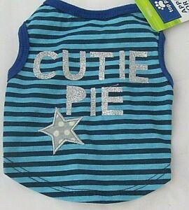 Dog Shirt Cutie Pie Blue Stripes Sparkle Words Star NWT Paw Shirt Sizes XS S M