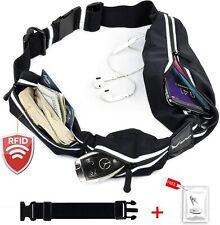 Running Belt waterproof Fanny Pack 2 Pocket fits iPhone. RFID Block, No Bounce