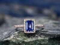 14k Rose Gold Over 1.50CT Emerald-Cut Blue Tanzanite & Diamond Halo Wedding Ring