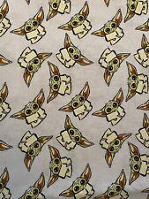 "YODA Star Wars Mandalorian 100% Cotton Fabric - 1/3 Yd - 12""x44"" Perfect 4 Masks"