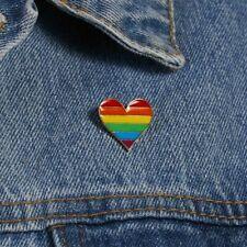 1Pcs Rainbow Enamel Pin Badges Gay Pride Enamel Brooches Heart Shape Brooch Gift