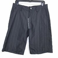 Affliction Black Premium Ace Pinstripe Walk Shorts Embroidered Men's Size 32
