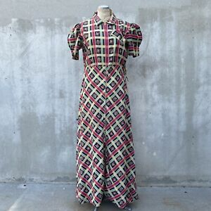 Vintage 1930s Red & Green Floral & Striped Print Cotton Maxi Dress Zipper Front