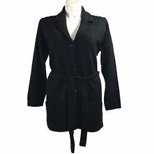 Women Sweater Cardigan XL Black TC Fashion Button Pocket Stretch Belt Knit NEW