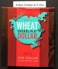 2012 $1 Silver Proof Coin -Wheat sheaf dollar 11.66 grams - box slightly crushed
