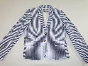 J. Crew Women's Schoolboy 2 Button Blazer Jacket Size 8 Blue White 100% Linen