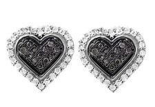 10K White Gold 10MM Heart Genuine Black And White Diamond Earring Stud 0.25ct