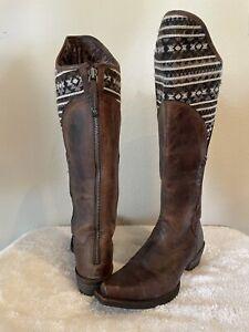 Ariat Caldera Aztec Snip Toe Brown Leather Zip Back 6.5 Tall Riding Cowboy Boots