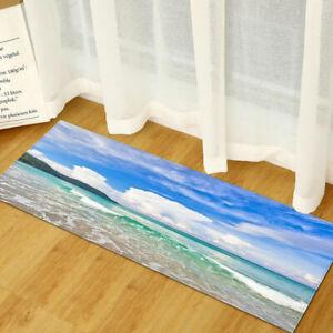 Anti-Slip Flannel Ocean Starfish Seashell Kitchen Rug Area Floor Mat Bath Carpet