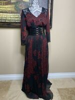 Guess Women's Black Floral Print Long Sleeves Full-Length Maxi Dress Size Large