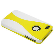 NEW YELLOW AND WHITE 3 PIECE HARD CASE COVER FOR APPLE IPHONE 4 4G 4S