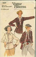 Vintage Shirt & Shirt Jacket Sewing Pattern 9681 Size 12