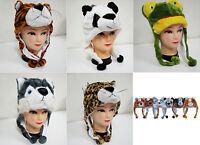 New Cartoon Animal Cap Hat Plush Earmuff Scarf Winter Fluffy Soft Fuzzy Warm