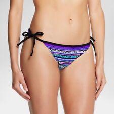 Womens String Bikini Bottom - Purple/Slate Gray Stripe - S - Mossimo