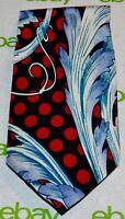 MICHELLI Black Red Light Blue White Ornate Polka Dot Print 100% Silk Tie