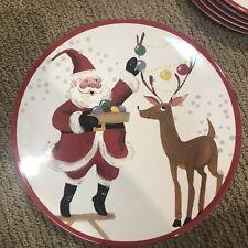 NEW Pottery Barn Kids Jolly Santa Plates Melamine~Santa & Reindeer Lights-CUTE!
