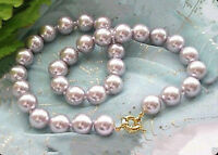 """10mm Natural Lavender South Sea Shell Pearl Round Beads Necklace AAA 18"""" AAA"""