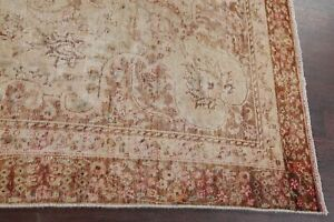 Antique MUTED Evenly WORN Kashmar Distressed Area Rug Hand-Knotted Wool 8'x9'