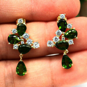 NATURAL CHROME GREEN DIOPSIDE & WHITE CZ EARRINGS 925 SILVER STERLING