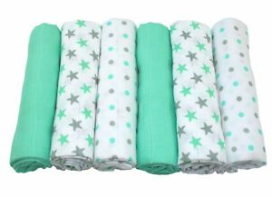 MuslinZ 6pk Quality Baby Muslin Square Burp Cloth Mint Grey Star Mix Cotton 70cm