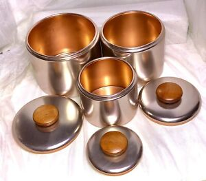 Set/3 MIRRO Rose Gold Copper Anodized Aluminum Canister Wood Handle Graduated