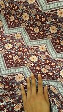 Rayon Challis Floral Flowers Burgundy Background Fabric By The Yard Gray Chevron