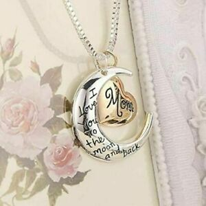 I Love You To The Moon & Back Mom Necklace & Pendant Birthday Mothers Day Gift