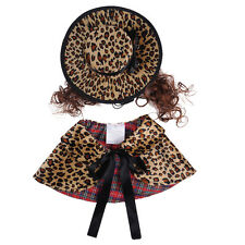 Pet Dog Dresses Vintage Princess Leopard Costumes Suit with Cloak Hat Wig