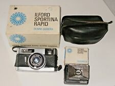 Rare Vintage Ilford Sportina Rapid  35mm Camera With Flashgun, Bulbs, Box, Case.