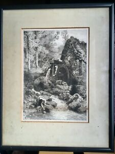 """Collectable Antique Framed Engraving 13"""" x 16"""" Monogram FB? Girl by Water Wheel"""