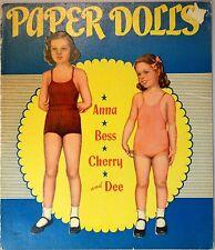 Un-Cut Paper Doll Book  Anna, Gees, Cherry & Dee, Saalfield 1943