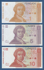 Croacia/Croatia 1, 5, 10 dinara 1991 UNC p.16, 17,18