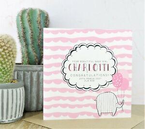 Personalised Handmade New Baby Card Girl