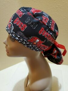 Tampa Bay Buccaneers NFL Women's Ponytail Surgical Scrub Hat/Cap Handmade