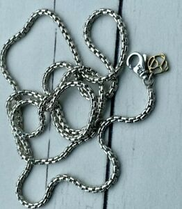 "David Yurman 24"" Sterling Silver/14k Box Chain Necklace (2.7mm)"
