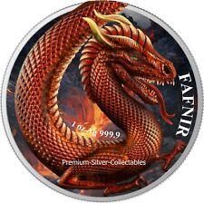 2020 Germany's Germania Beast Fafnir Dragon 1 Ounce Pure Silver Colorized Coin!