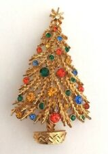 Vintage Signed ART Christmas Tree Rhinestone Enamel Brooch Pin