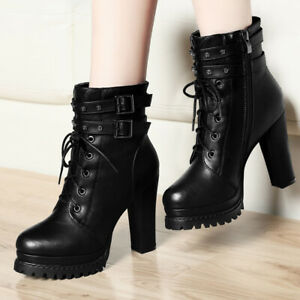 Retro Punk Style Women's Studded Ankle Boots with Pointed Toe Buckle High Heels