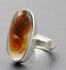 Lovely 925 Sterling Silver & Translucent White/Brown Agate Ring