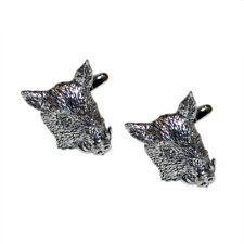 English Made Pewter Wild Boars Head Cufflinks in a Leatherette X2TSBCA44