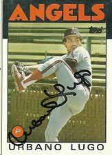 1986 Topps URBANO LUGO Signed Card ANGELS Caracas, venezuela EXPOS rare
