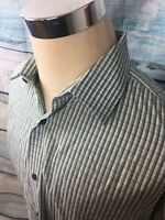 BANANA REPUBLIC MEN'S SLIM FIT BUTTON FRONT SHIRT XL Green Striped